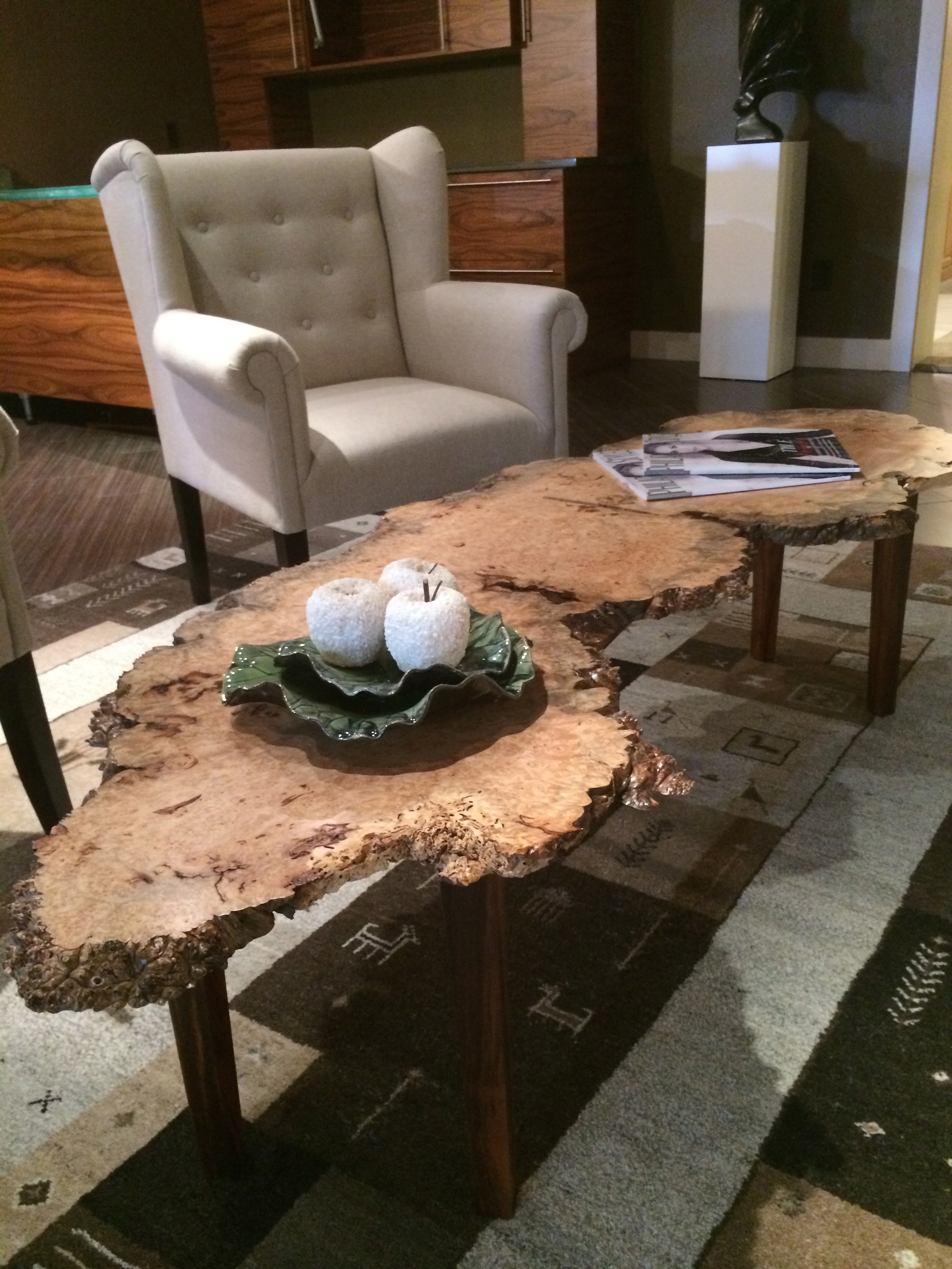 Maple Burl Table w Rosewood Base The Wood Shop